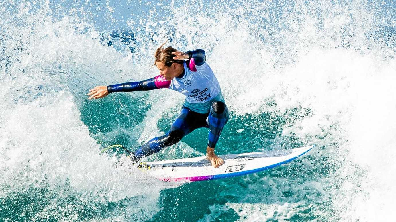 JEFFREYS BAY, SOUTH AFRICA - JULY 10: Keely Andrew of Australia will surf in Round 2 of the 2019 Corona Open J-Bay after placing third in Heat 5 of Round 1 at Supertubes on July 10, 2019 in Jeffreys Bay, South Africa. (Photo by Ed Sloane/WSL via Getty Images)
