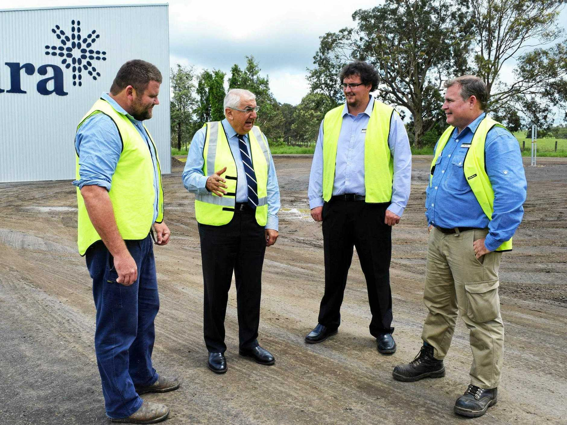 FILE PHOTO: Mara Global Foods managing director and owner Ross Larsson talking about the Culmaran Creek Road upgrade with Kyogle councillor Hayden Doolan, former Lismore MP Thomas George and Kyogle Council's director of Assets and Infrastructure Tony Lickiss.