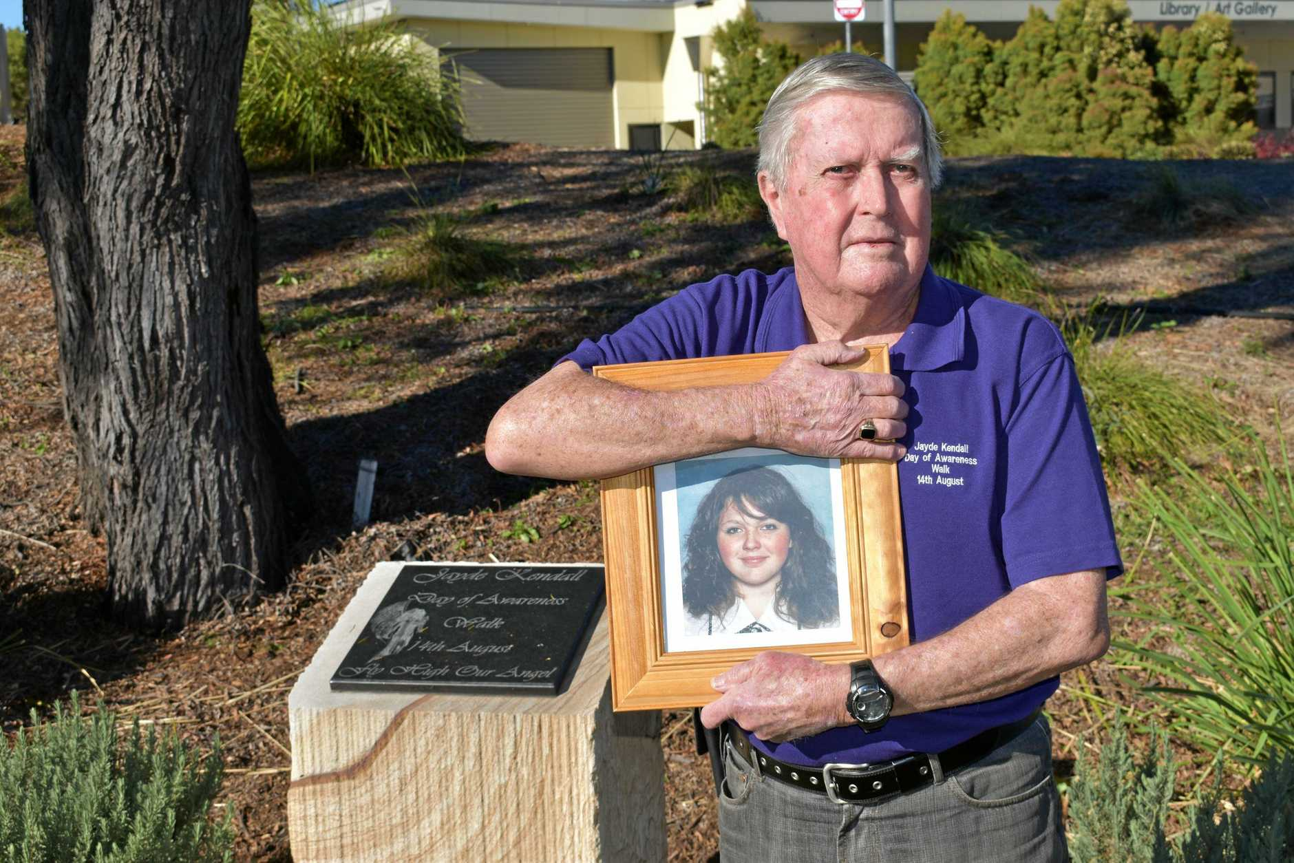 Denis Morrissey at the memorial for his granddaughter Jayde Kendall in Gatton. The Jayde Kendall Day of Awareness Walk will be held on August 14.