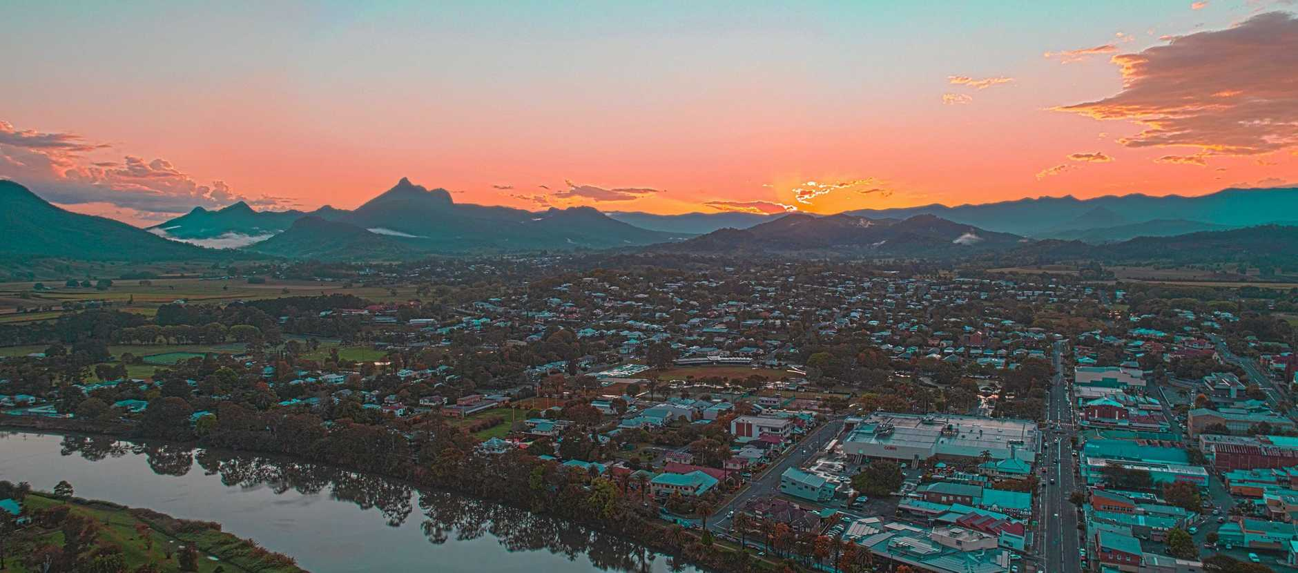 An aerial view of Murwillumbah.