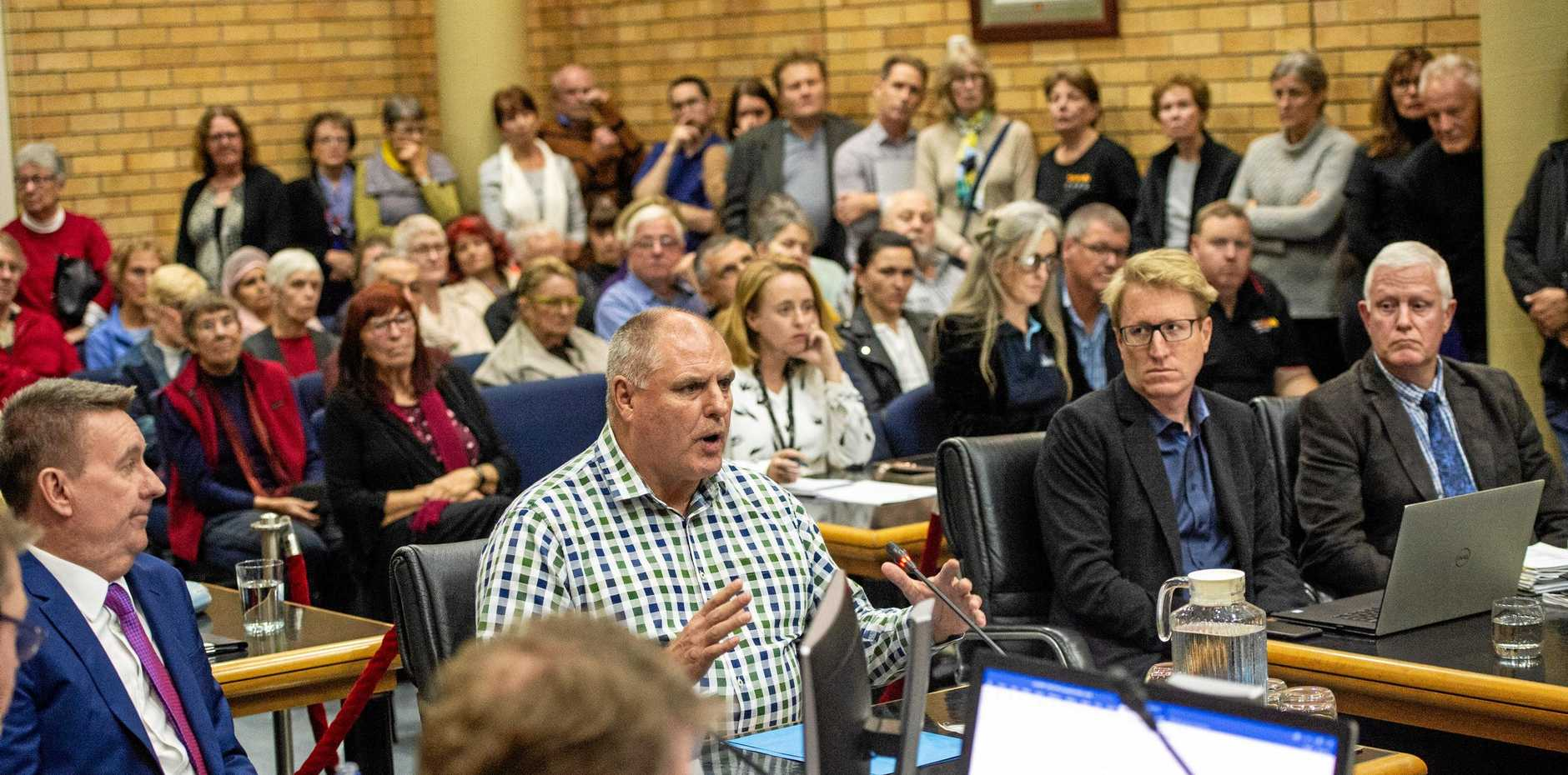 PACKED: John Rafferty from C.ex Group speaks in support of progressing the project to detailed design and construction phase.