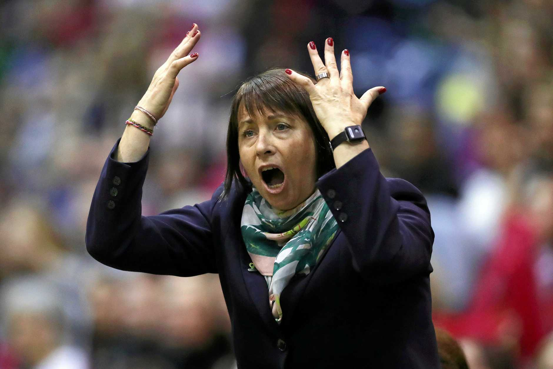 LONDON, ENGLAND - JANUARY 20:  Lisa Alexander, Head Coach of Australia gives her team instructions during the Vitality Netball International Series match between England Vitality Roses and Australian Diamonds, as part of the Netball Quad Series at Copper Box Arena on January 20, 2019 in London, England.  (Photo by Naomi Baker/Getty Images)