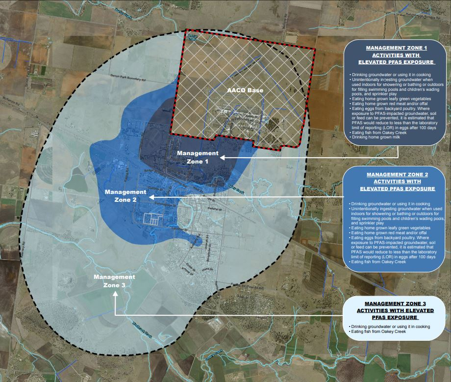 PFAS Management Zones in Oakey as of December 2017