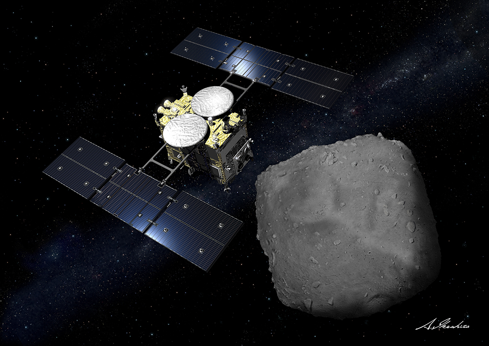 An illustration of the Hyabusa2 probe meeting Ryugu