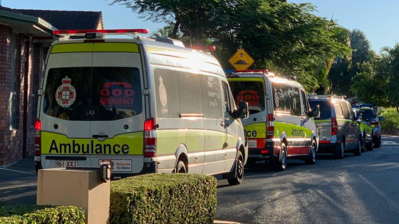 Ambulances at Arthur Earle Retirement Village. Picture: Tertius Pickard