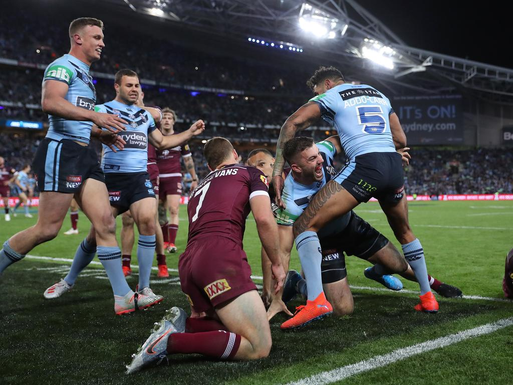 NSW's James Tedesco scores a try during Game 3 of the State of Origin Series between NSW and QLD at ANZ Stadium, Homebush. Picture: Brett Costello