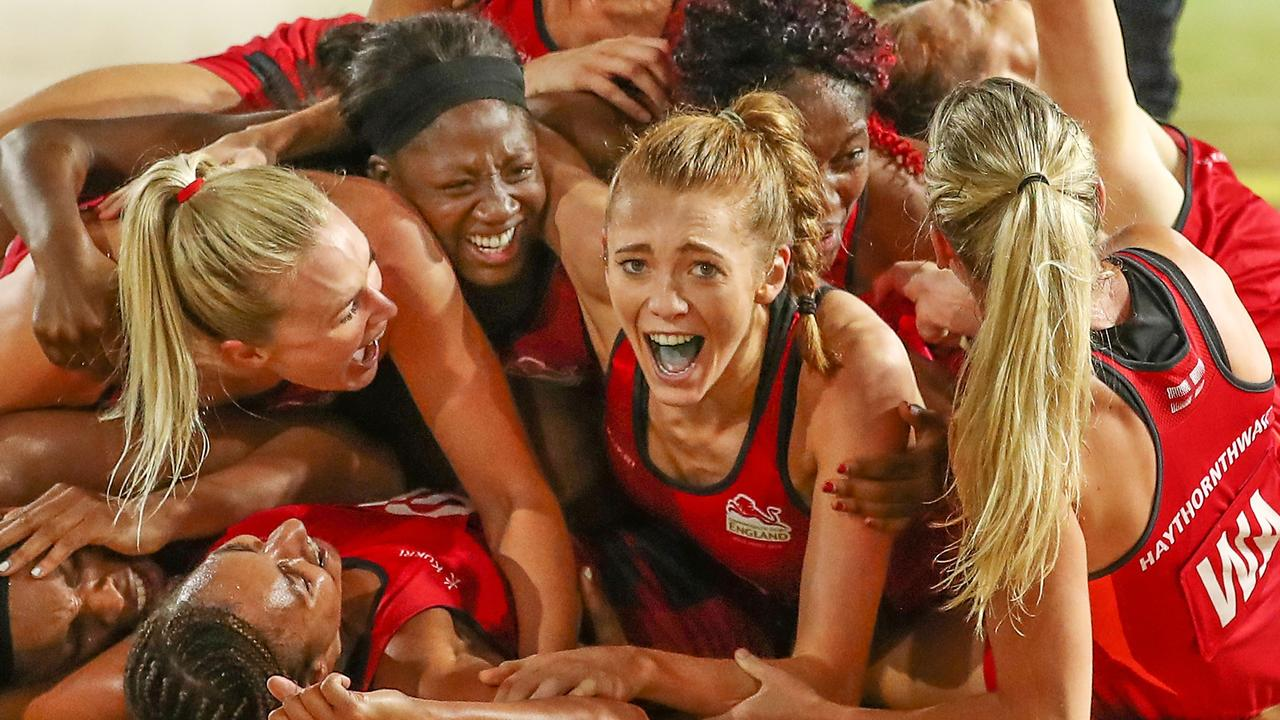 England players celebrate winning the gold medal match at last year's Commonwealth Games on the Gold Coast. Picture: Getty Images