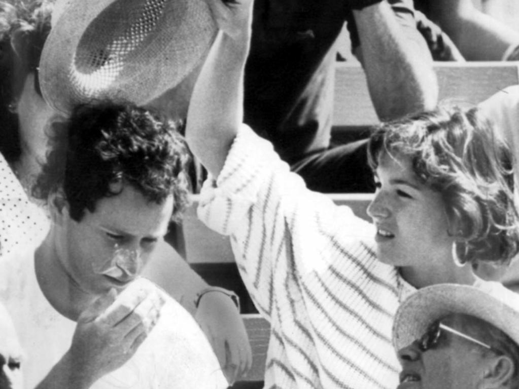 Actor Tatum O'Neal with tennis playing husband John McEnroe at Kooyong in 1985. Picture: Peter Bull