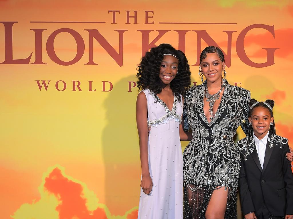 Beyonce and Blue Ivy pose with co-star Shahadi Wright Joseph, who voices a young Nala in the movie. Picture: Getty Images for Disney