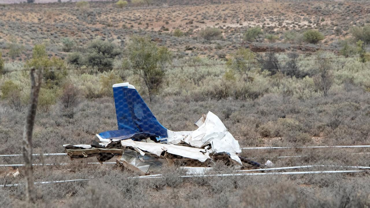 The wreckage of the plane. Picture: Simon Cross