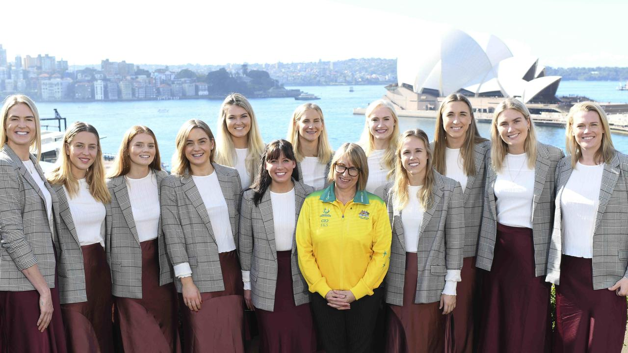 LtoR Jamie-Lee Price, Steph Wood, Caitlin Bassett, Liz Watson, Gretel Tippett, Kelsey Browne, April Brandley, Paige Hadley, Jo Weston, Sarah Klau, Courtney Bruce, Caitlin Thwaites and coach Lisa Alexander in yellow.