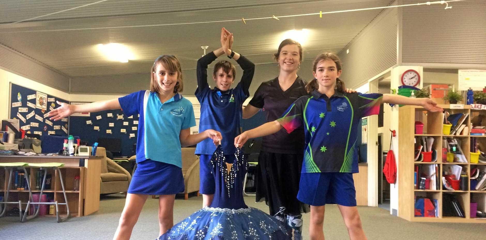 GRACEFUL: Sophie Lehmann, Josh Lehmann and Tara Hawkins with Queensland Ballet education manager Martha Godber.