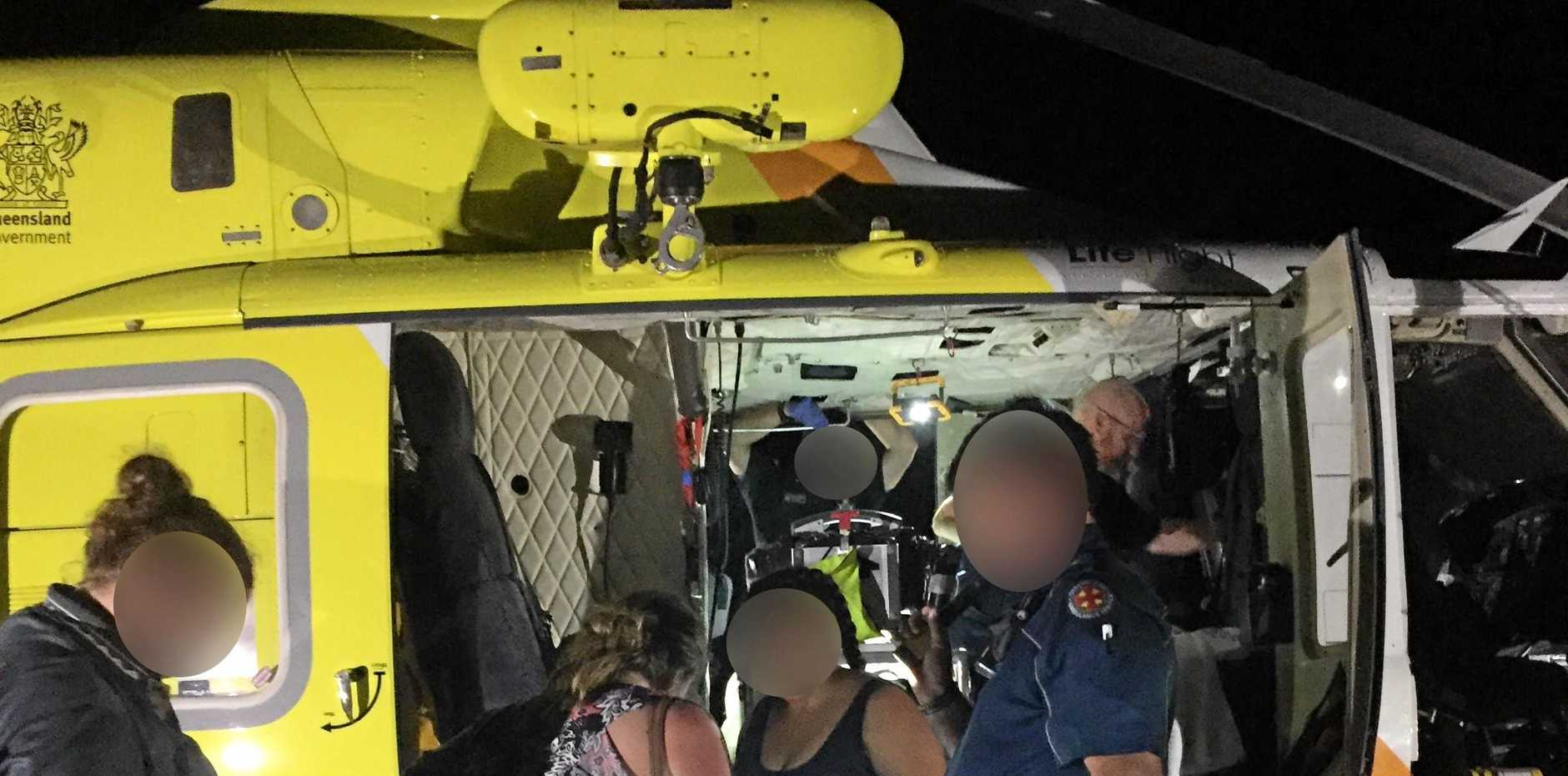 INJURED: A nine-year-old French boy and his mum were airlifted off Fraser Island after a dingo attack.