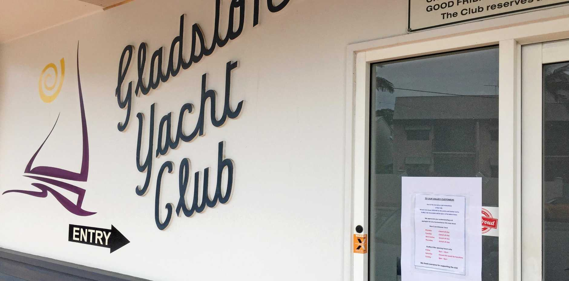 The Gladstone Yacht Club is operating under restricted hours while it undergoes financial restructuring.