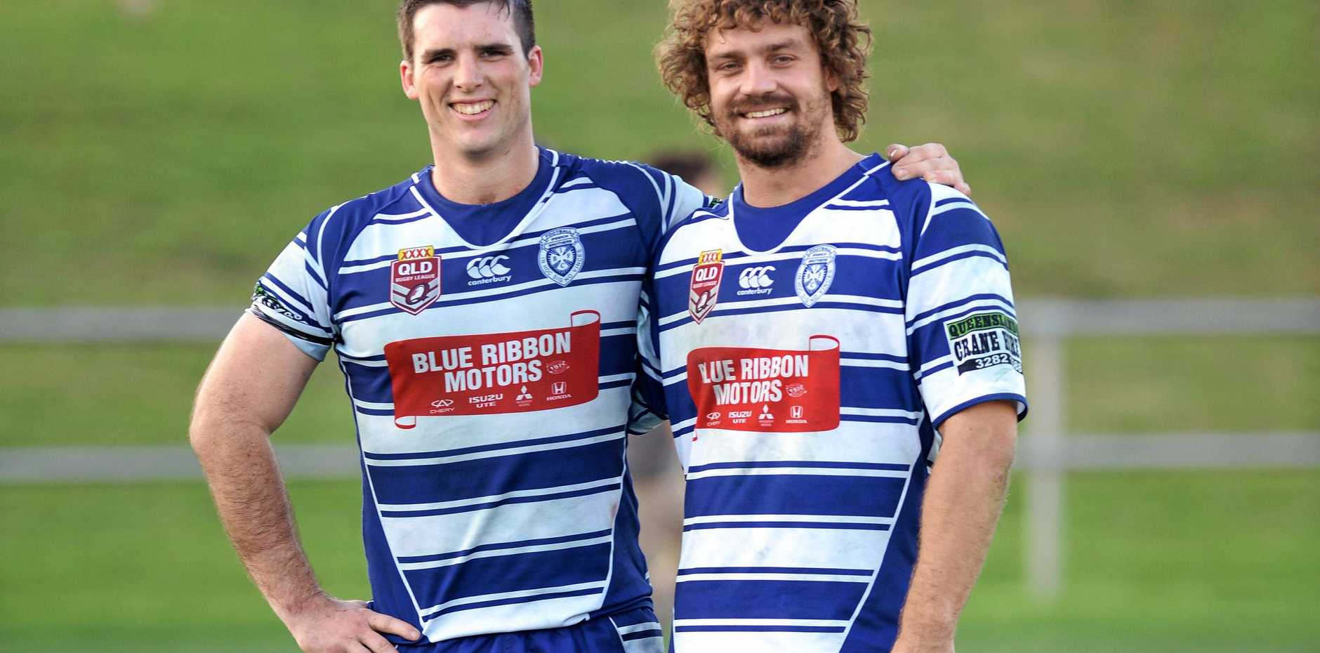 BROTHERS IN ARMS: Ex- Brothers player Matt Hamill alongside Beau Yates who is back in blue and white this season. Photo: Rob Williams / The Queensland Times
