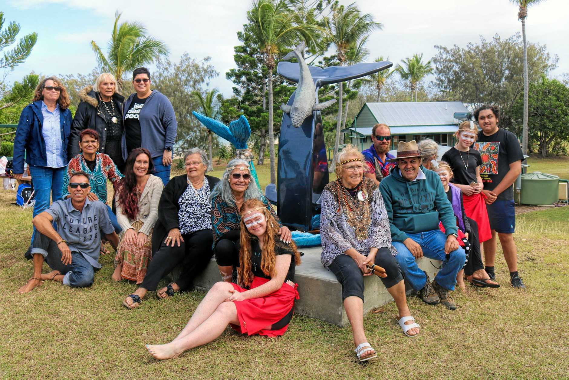 SEEKING A VOICE: Woppaburra Elders and families at the official NAIDOC event on Monday on North Keppel Island.