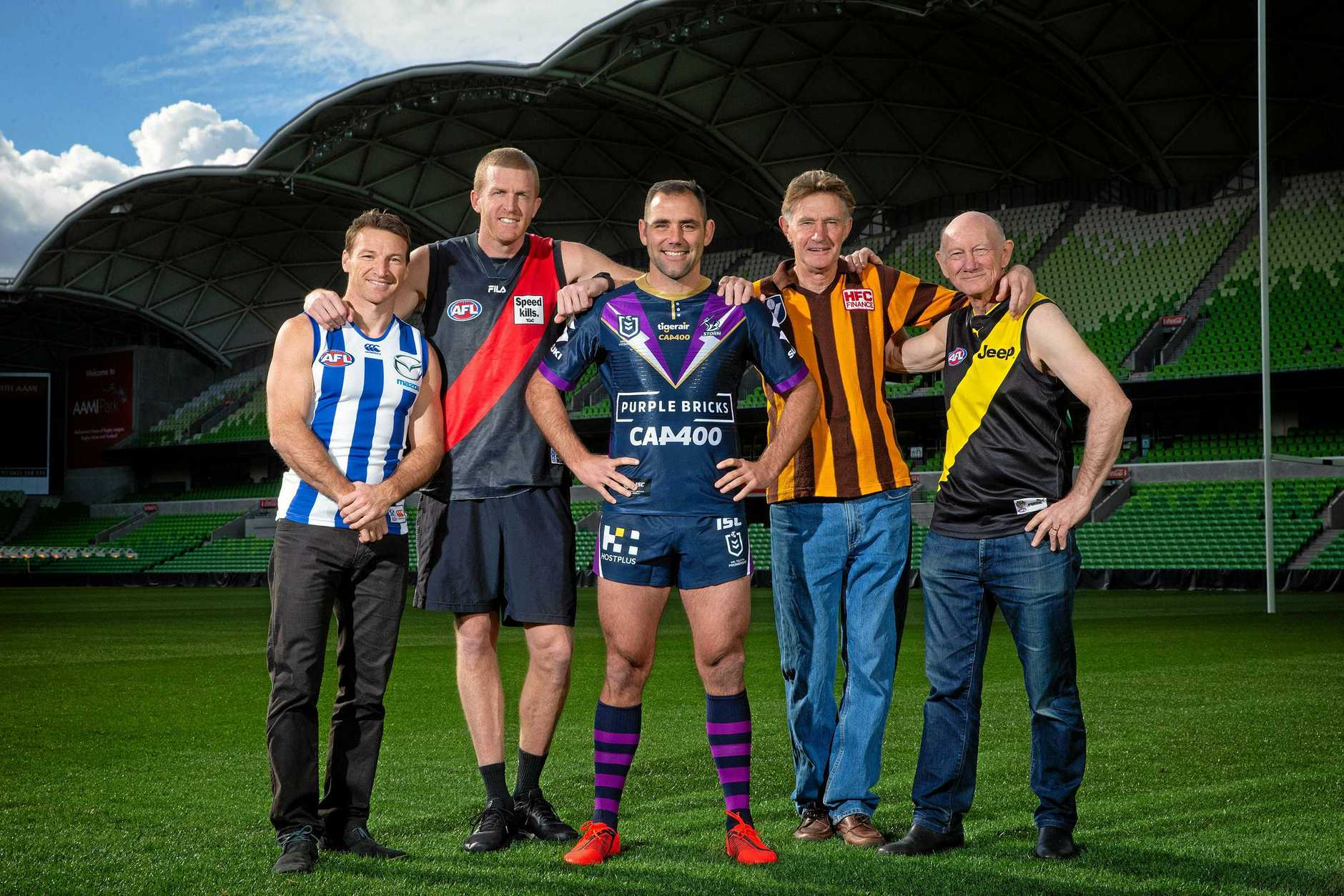 . *EXCLUSIVE SPEAK TO HERALD SUN PICTURE DESK BEFORE USING* NRL's Melbourne Storm star Cameron Smith will play his 400th game this weekend. He is joined by the AFL 400 Club, Brent Harvey, Dustin Fletcher, Michael Tuck and Kevin Bartlett. Picture: Mark Stewart