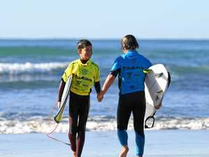 FUN WITH FRIENDS: Grommets compete at epic surfing event
