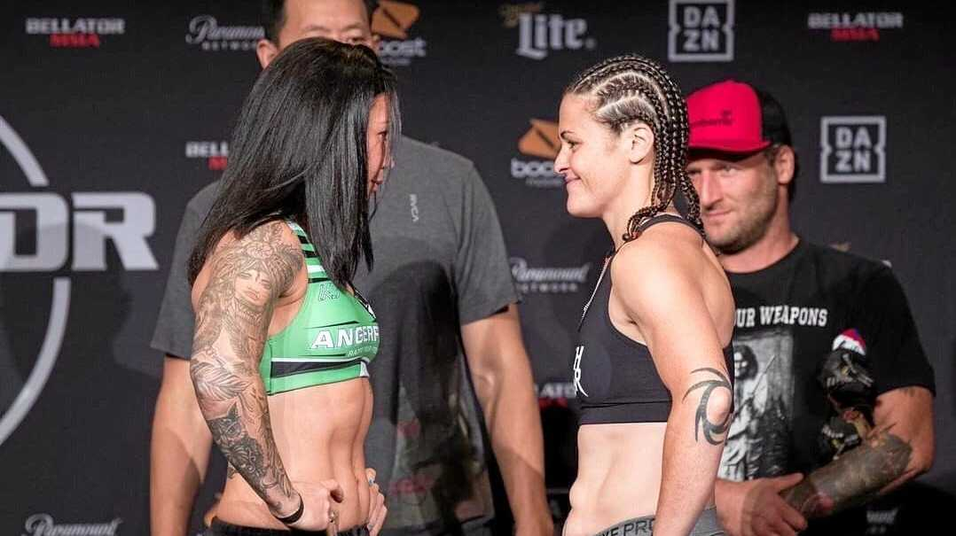 STANDOFF: Gympie's Arlene Blencowe and Amanda Bell face off at the Bellator 224 weigh-ins, held yesterday morning local time.
