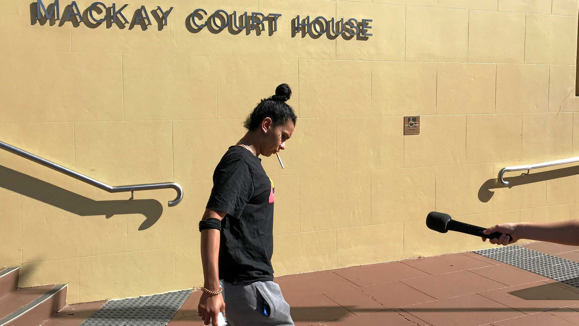 Melita Kissier, who was arrested after ignoring a coronial direction, leaves Mackay courthouse after giving evidence in the Shandee Blackburn inquest.