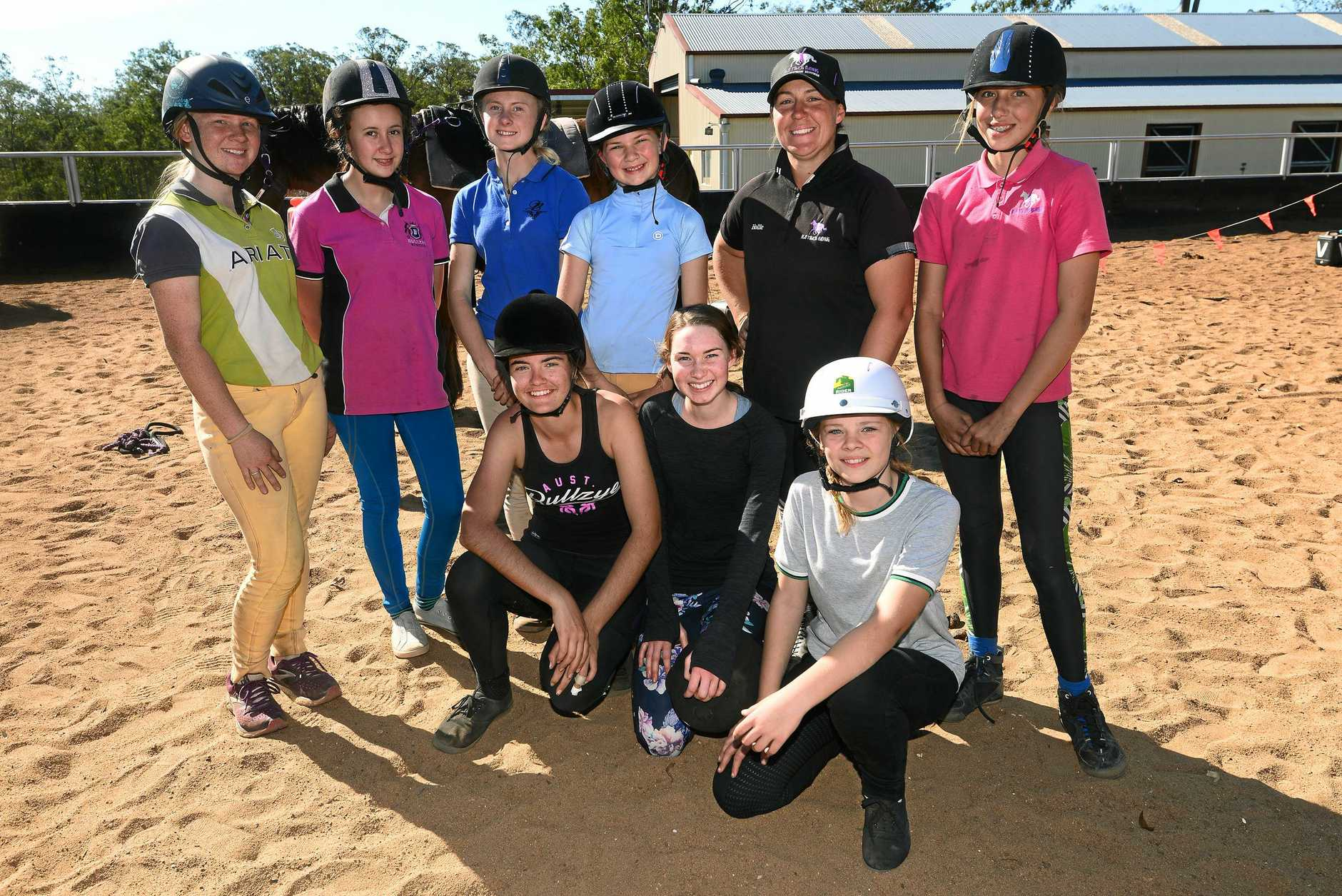 Billie Morgan, Danielle Wakelin and Sierra Marriott (front), Phoebe Whitaker, Millie Jensen-Austin, Annabella Gilliland, Emily Whitaker, Hollie Shiels and River Johnson (back).
