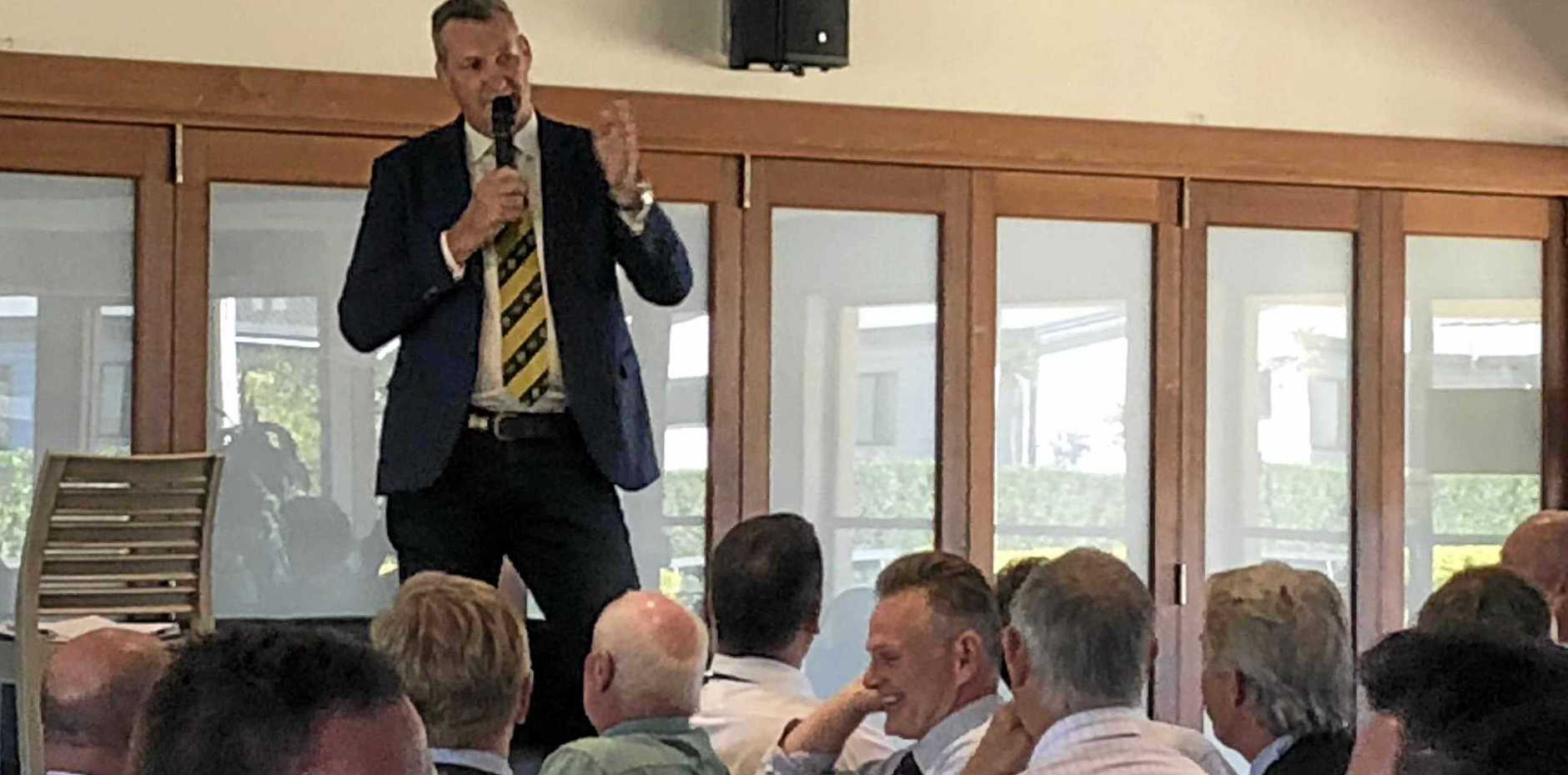 Former Wallaby Justin Harrison speaks at an Old Tie Rugby lunch at Byron Bay today.