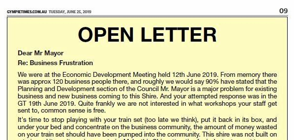 Open letter to Gympie Mayor Mick Curran