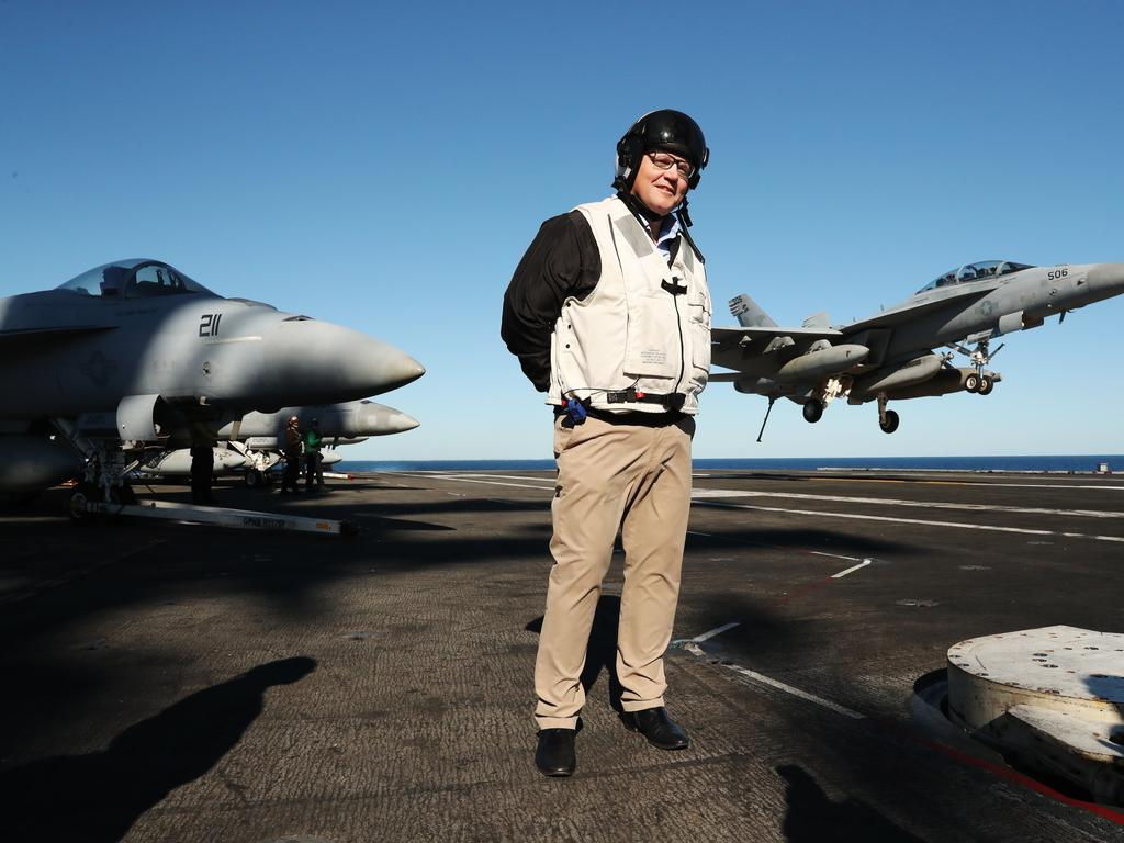 Australian Prime Minister Scott Morrison visits USS Ronald Reagan off the coast of Brisbane as part of a joint America and Australia Operation Talisman Sabre 2019 on July 12, 2019. Picture: Adam Taylor