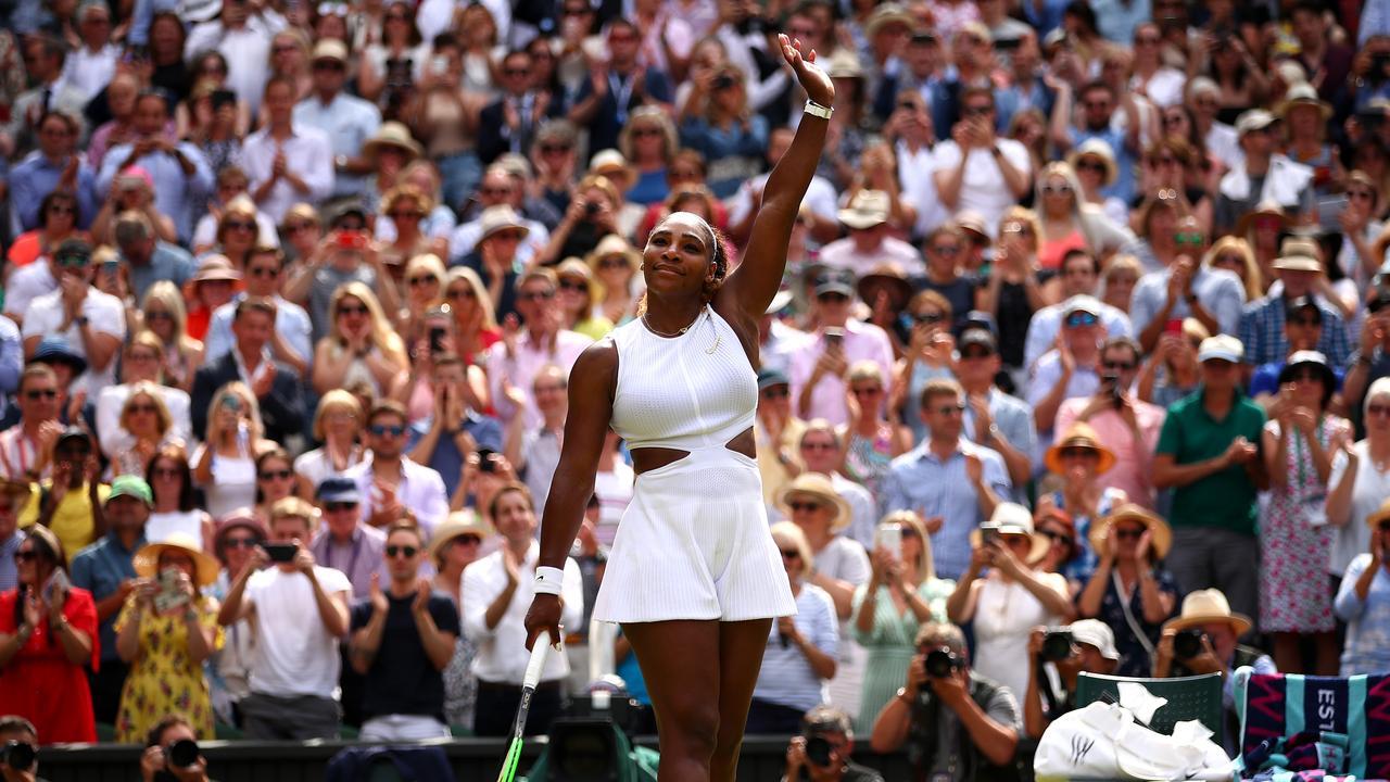 Serena Williams celebrates her win over Barbora Strycova. Picture: Getty Images