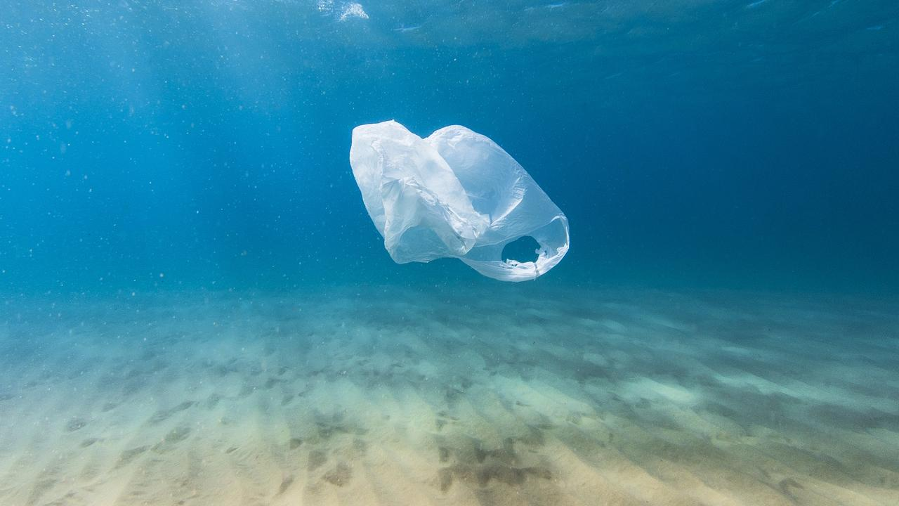 Plastic bag pollution in ocean