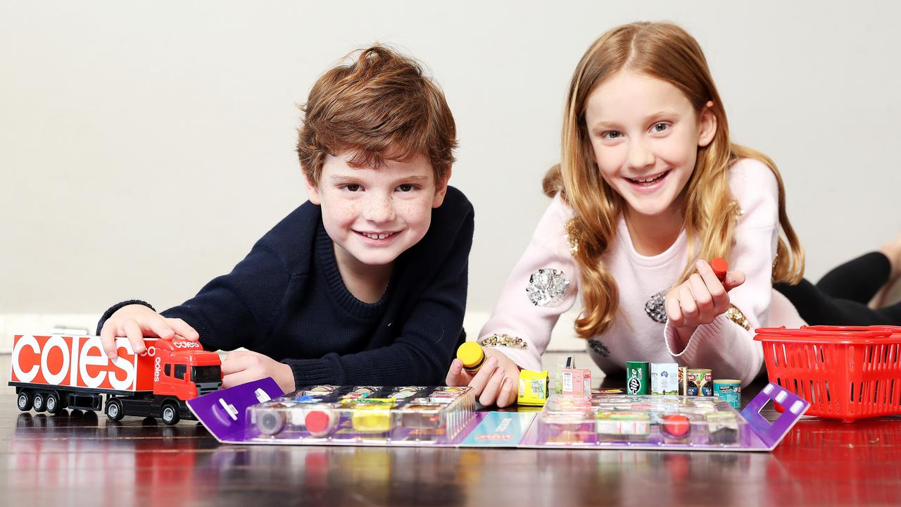Ava Keating 9 and Billy Keating 5, are excited for the new Coles mini collectables. Picture: Tim Hunter.
