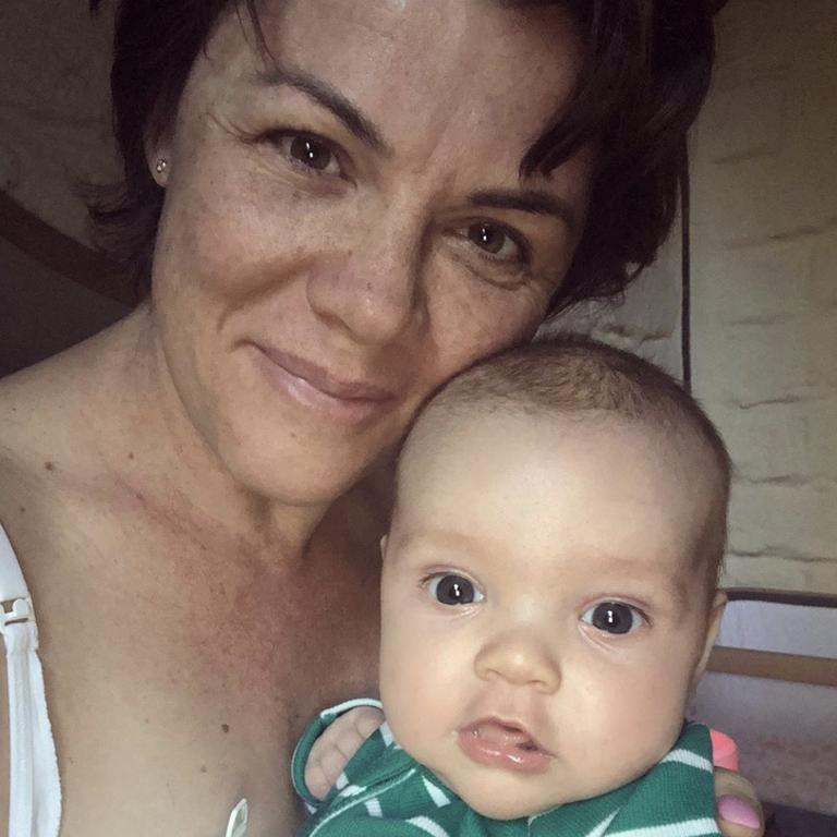 Em Rusciano and baby Elio. Picture: Instagram