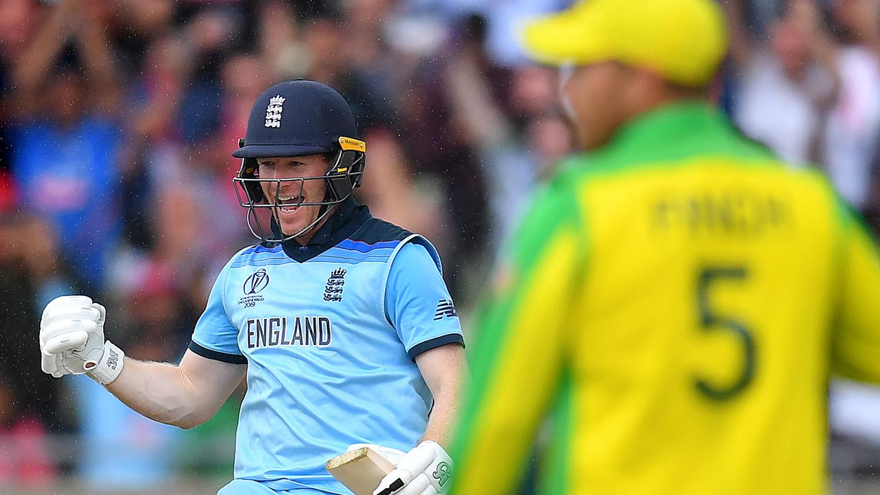 Eoin Morgan celebrates the winning runs. Pic: Getty Images