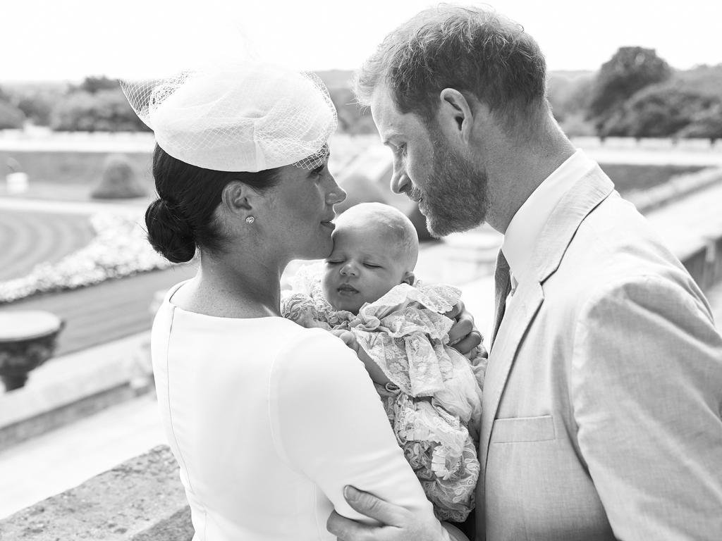 Meghan and Harry with Archie at his christening last weekend. Picture: SussexRoyal via Getty Images