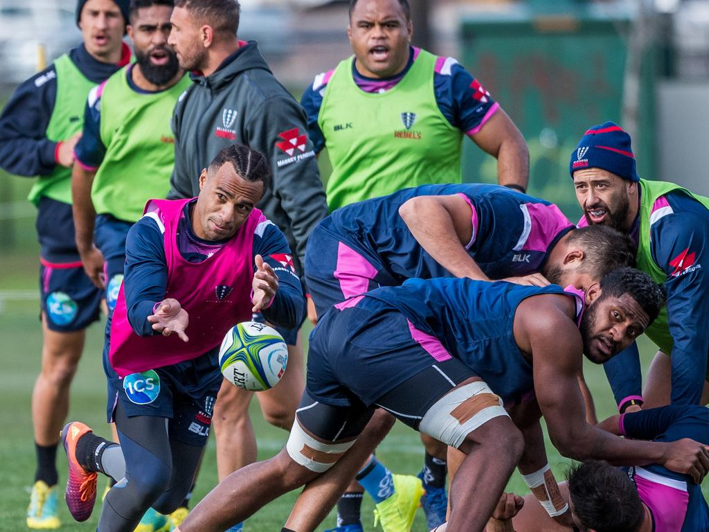 Will Genia trains with the Melbourne Rebels, where he has spent the past two seasons. Picture: Jake Nowakowski
