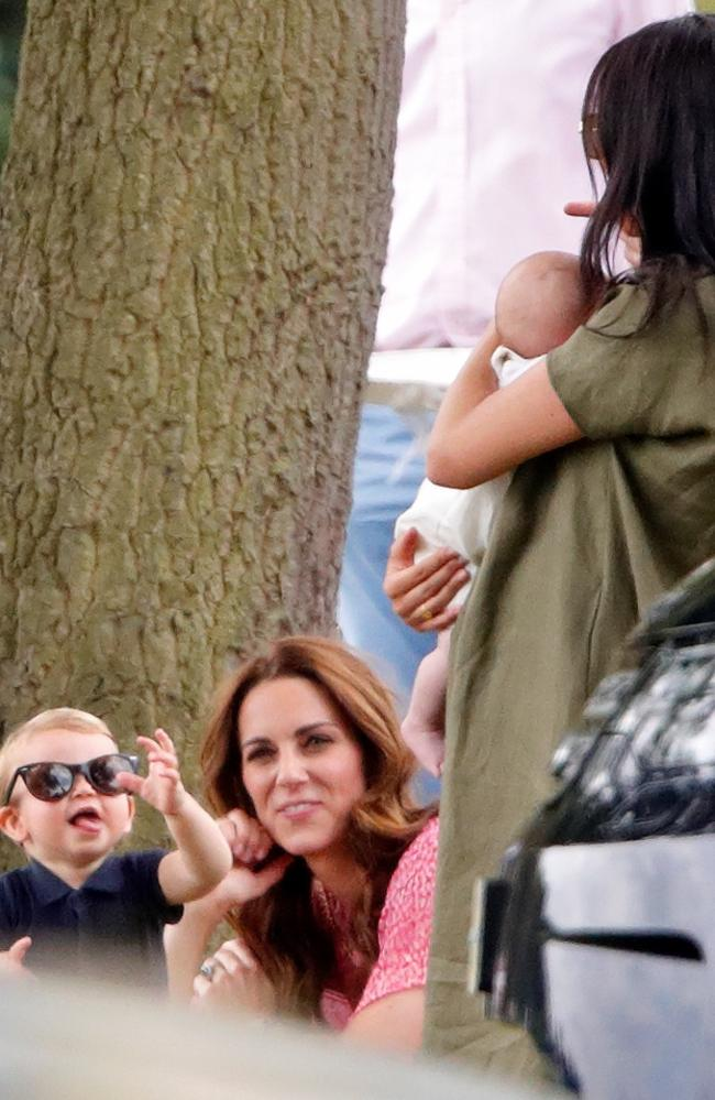 Prince Louis and Kate look on as Meghan holds Archie. Picture: Getty Images