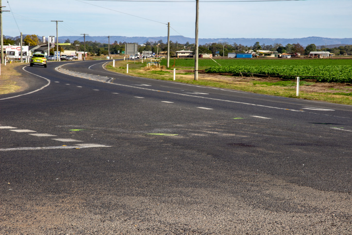Evidence markings at the site of where a fatal accident occurred at the intersection of Eastern Drive and Gatton-Laidley Rd on the night on July 12, 2019