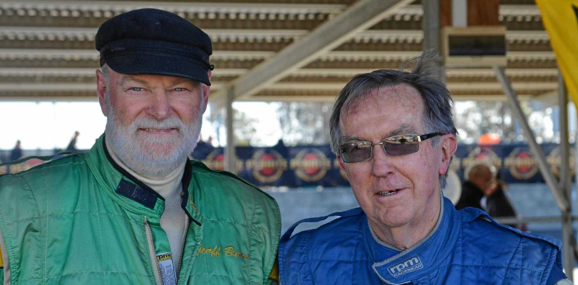 RACETRACK PARTY: Birthday sharing cousins Geoff and Mike Byrne.