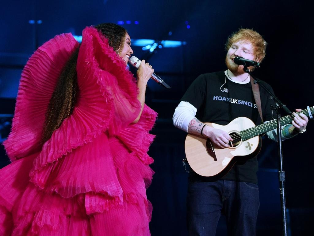 Beyonce and Ed Sheeran perform in Johannesburg, South Africa in 2018. Picture: Getty Images
