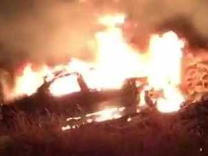 A car on fire by the side of the Warrego Hwy near Helidon. Video by Robert Cheek.