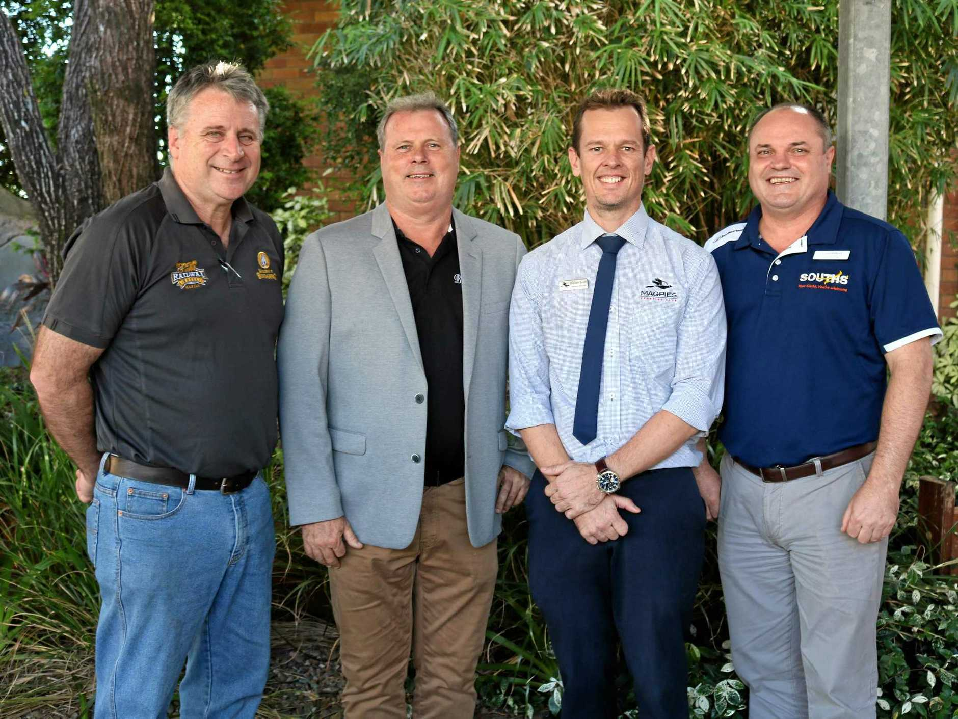 GENEROUS: Bryan Sheedy of the Railway Hotel, Doug Daly from the Northern Beaches Bowls Club, Darren Smith of Magpies Sporting Club and Chris Elliott of the Souths Leagues Club helped make it possible for more students to attend the Youth Literary Festival.