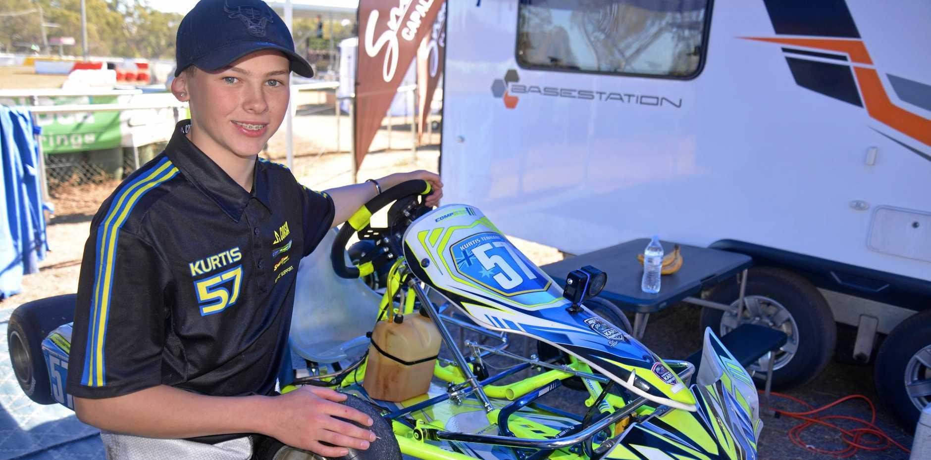 Kurtis Tennant won KA4 junior class at the Queensland Junior Top Guns at Sandy Creek Raceway.