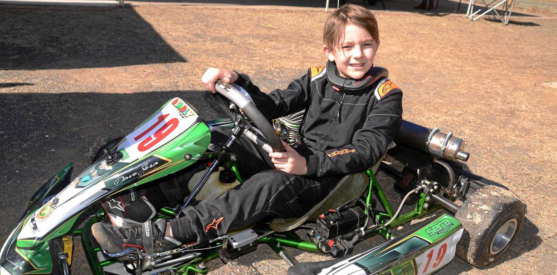 Max Battaglene Sharpe after his first win in the Junior Top Guns at Sandy Creek Raceway.
