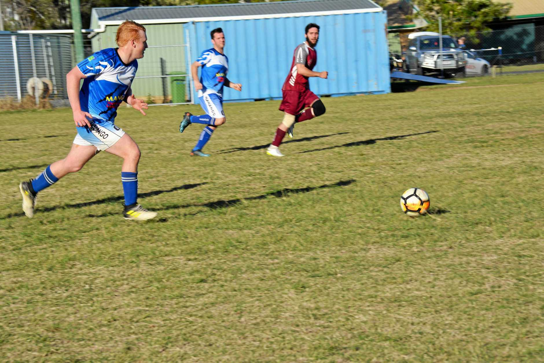 SOCCER: Nanango men's team played Barambah men's team at Nanango this weekend.