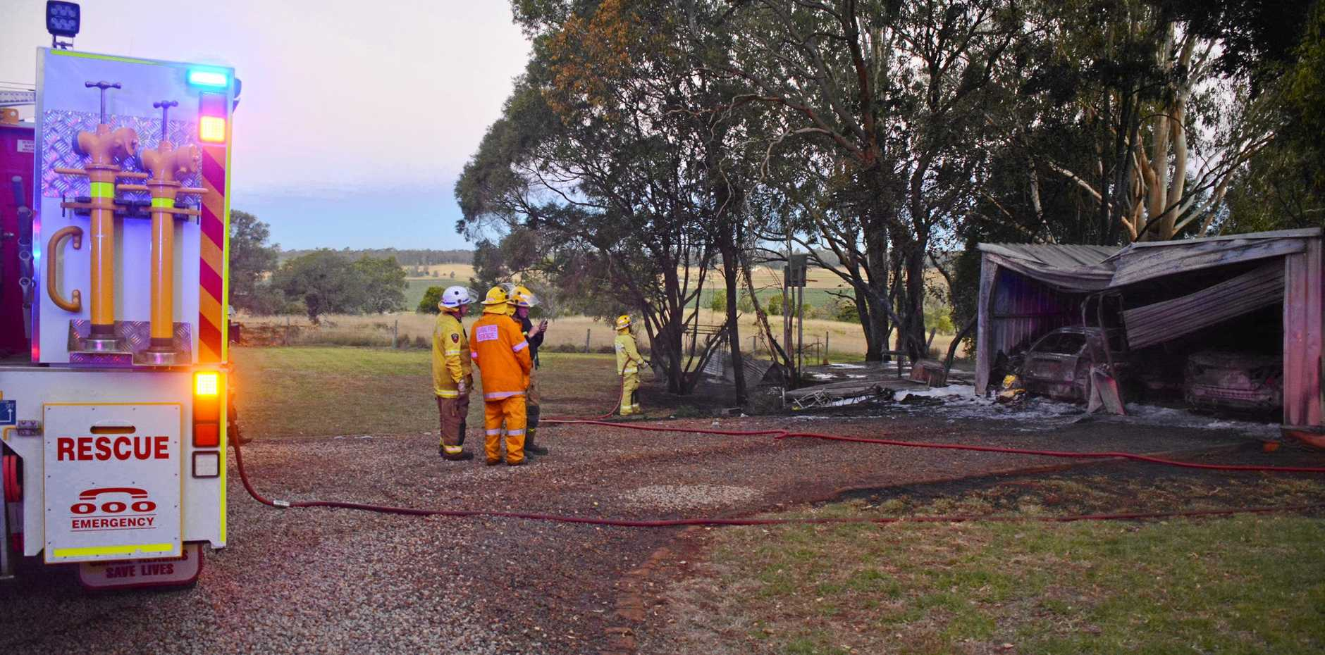 FIRE: a shed caught on fire just outside of Kingaroy.