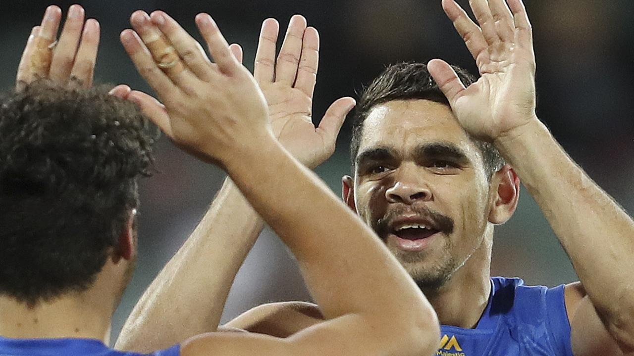 Charlie Cameron celebrates during the Lions win over Port Adelaide.