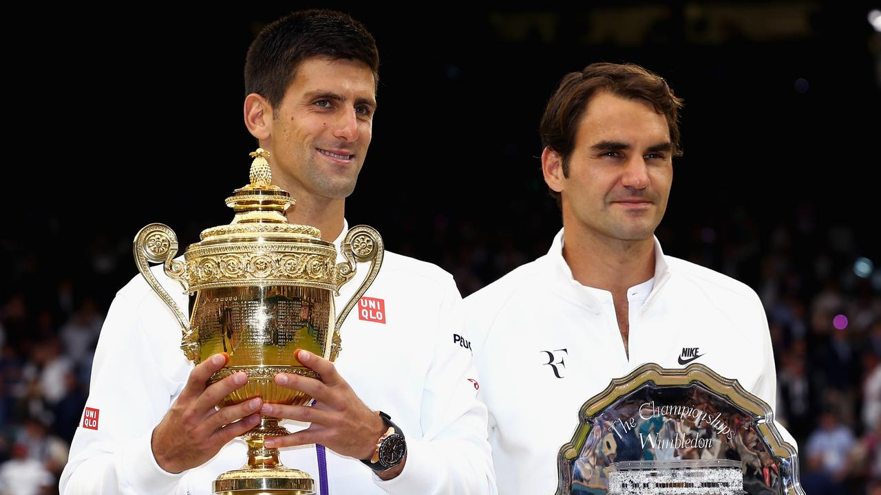Novak Djokovic is chasing Federer's grand slam record. Picture: Getty