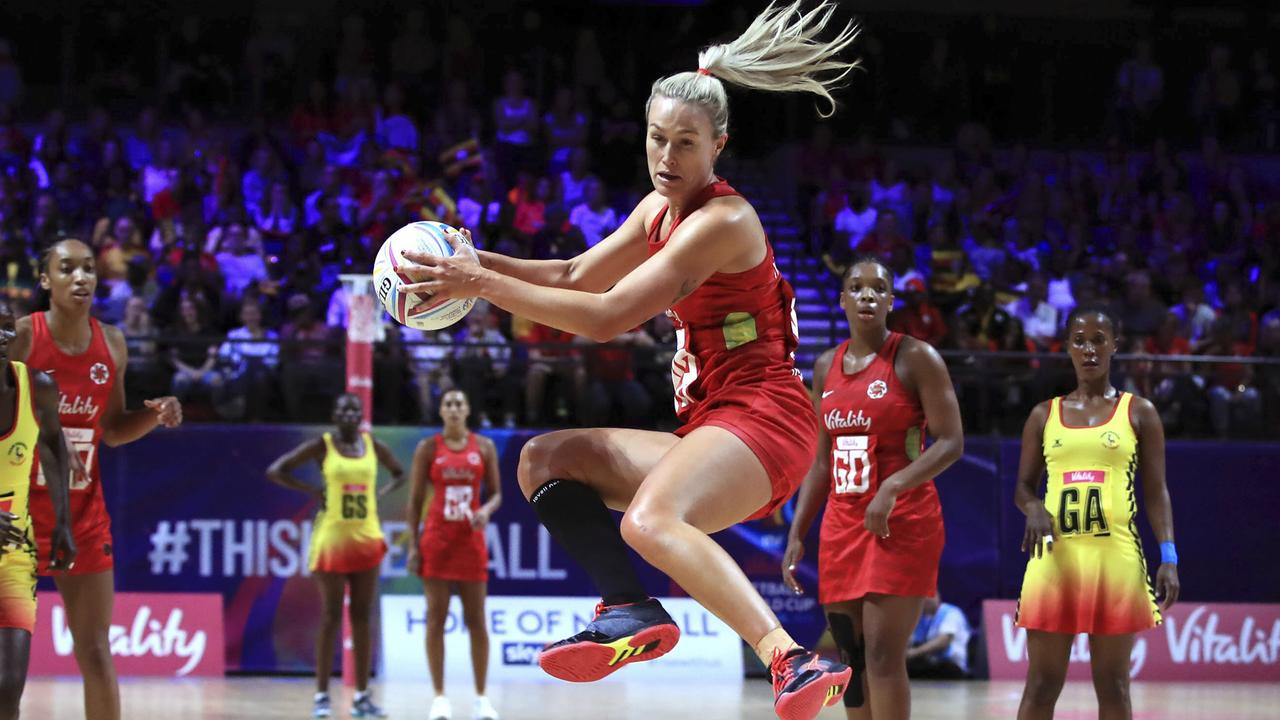 A high-flying Chelsea Pitman in England's match against Uganda.