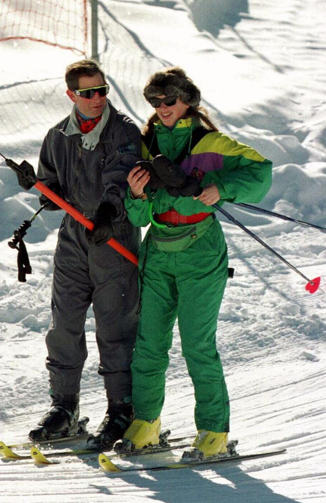 On one such skiing trip, Prince Charles and Tiggy were seen carrying matching heart-shaped ski poles. Picture: The Sun/Harry Page