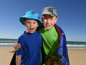 Cold weather on the Sunshine Coast.Jack,6,and